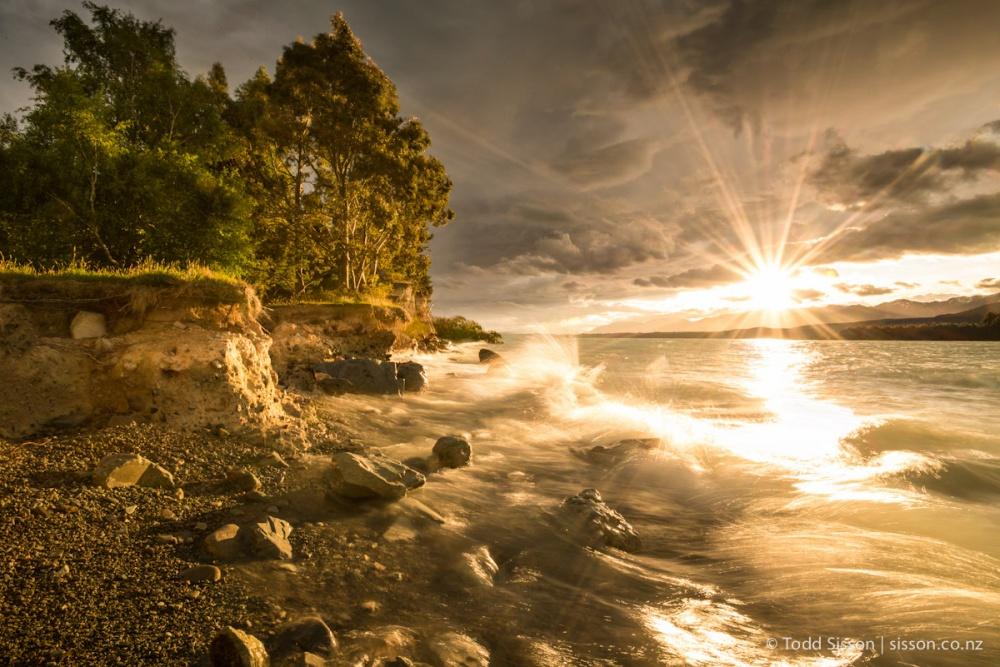 Закат на озере Пукаки.