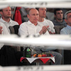 Ильхам Алиев, Владимир Путин, Серж Саргсян (слева направо) Фото: Алексей Дружинин / РИА Новости