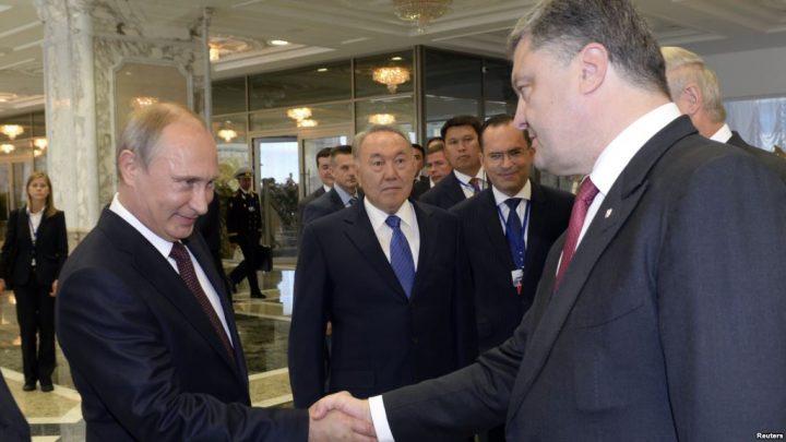 Президенты трех стран Назарбаев, Путин, Порошенко