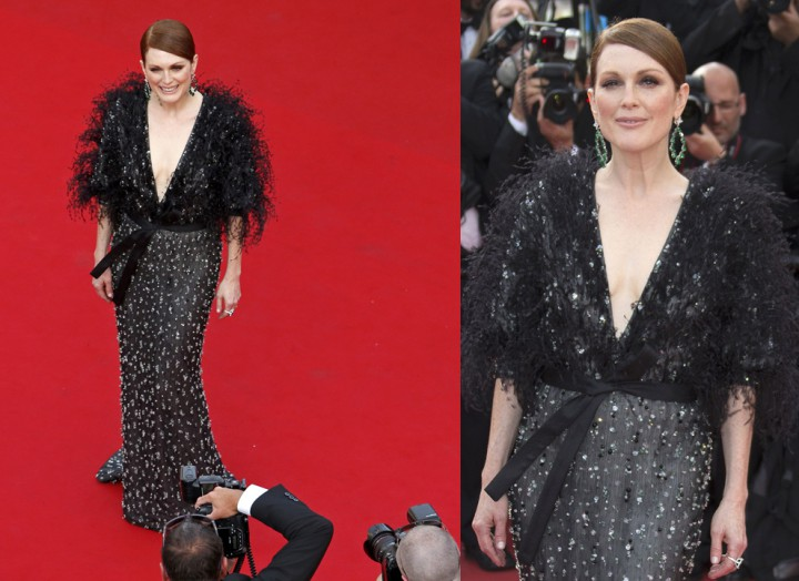 """Actress Julianne Moore poses on the red carpet as she arrives for the opening ceremony and the screening of the film """"La tete haute"""" out of competition during the 68th Cannes Film Festival in Cannes, southern France, May 13, 2015. The 68th edition of the film festival will run from May 13 to May 24.              REUTERS/Benoit Tessier"""