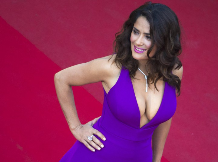 """Actress Salma Hayek poses on the red carpet as she arrives for the screening of the film """"Carol"""" in competition at the 68th Cannes Film Festival in Cannes, southern France, May 17, 2015.            REUTERS/Yves Herman"""