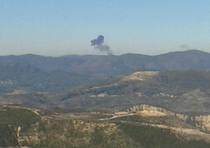 Some rises over a mountainous area in northern Syria after a war plane was shot down by Turkish fighter jets near the Turkish-Syrian border November 24, 2015. REUTERS/Sadettin Molla