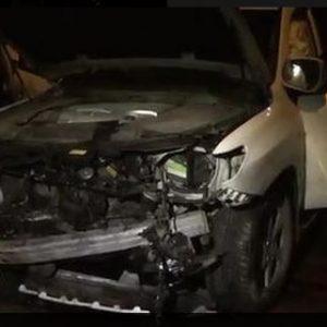 Разбитая машина на улице Байтурсынова