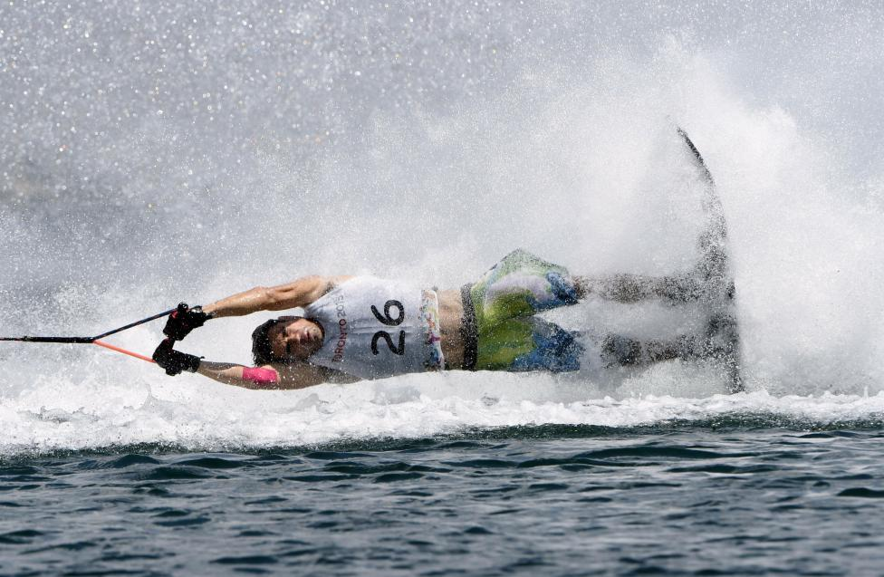 Carlos Lamadrid of Mexico crashes in the waterski slalom preliminary round during the 2015 Pan Am Games in Toronto, July 20, 2015. Eric Bolte-USA TODAY Sports