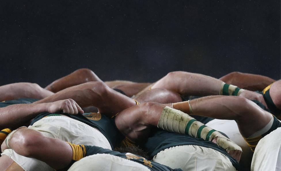 South Africa players compete in a scrum with New Zealand players during their Rugby World Cup Semi-Final match at Twickenham in London, October 24, 2015. REUTERS/Russell Cheyne