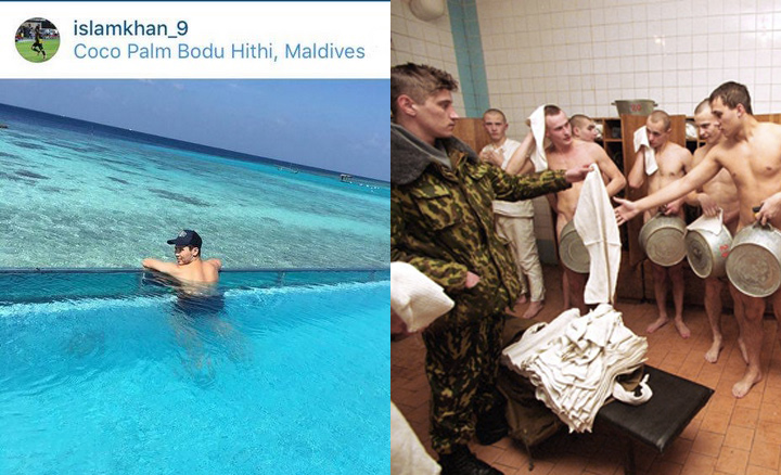 Слева - Исламхан принимает водные процедуры, справа - реальность призывников осени 2015