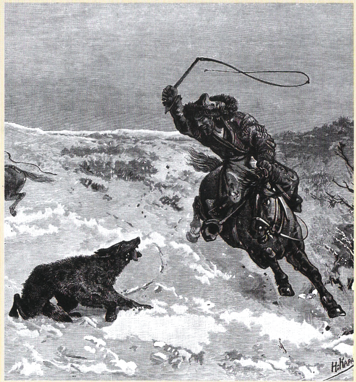 Охота на волков у казахов. Картина художника Николая Каразина, 19 век