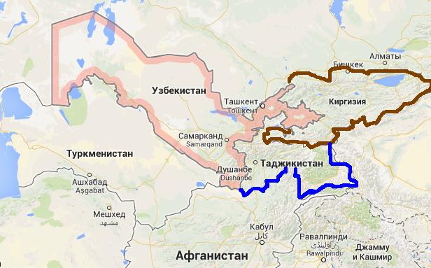 граница Узбекистана, Кыргызстана и Таджикистана