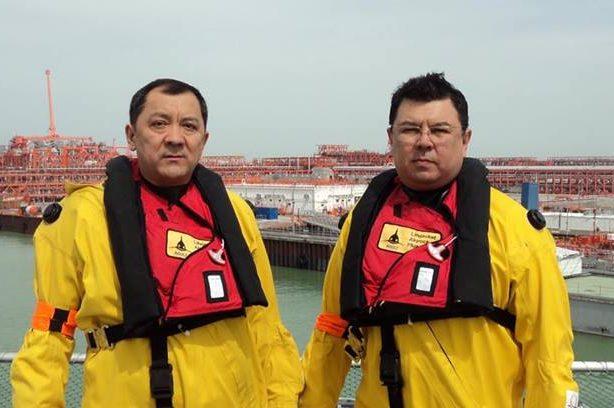 Министр энергетики Канат Бозумбаев и аким Атырауской области Нурлан Ногаев на Кашагане