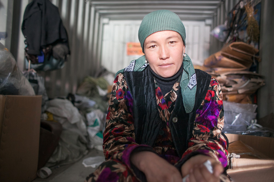A woman in her container at Dordoi Bazaar in 2010. David Trilling