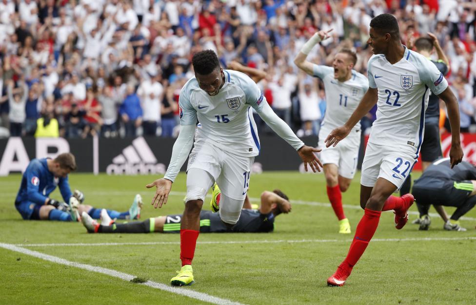England's Daniel Sturridge celebrates scoring their second goal against Wales. REUTERS/Christian Hartmann Livepic