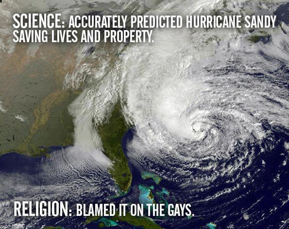 Пока наука точно предсказывает ураганы, религии объявляют их карой божьей за гомосексуалистов