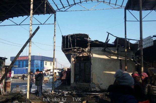 пожар на рынке Атакент в селе Атакент