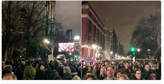 Митинг против Трампа в Нью-Йорке 19 января