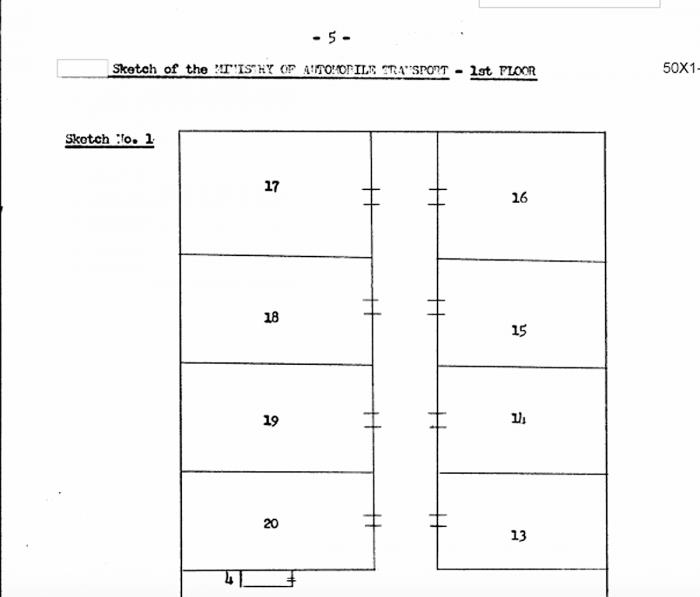 Расположение кабинетов в Министерстве транспорта УзССР. Из архивов ЦРУ