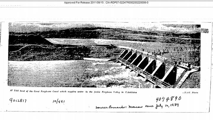 Снимок шлюзов на Большом Ферганском канале из архива ЦРУ