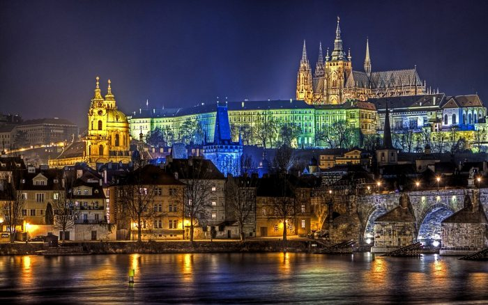 Вид на ночную Прагу