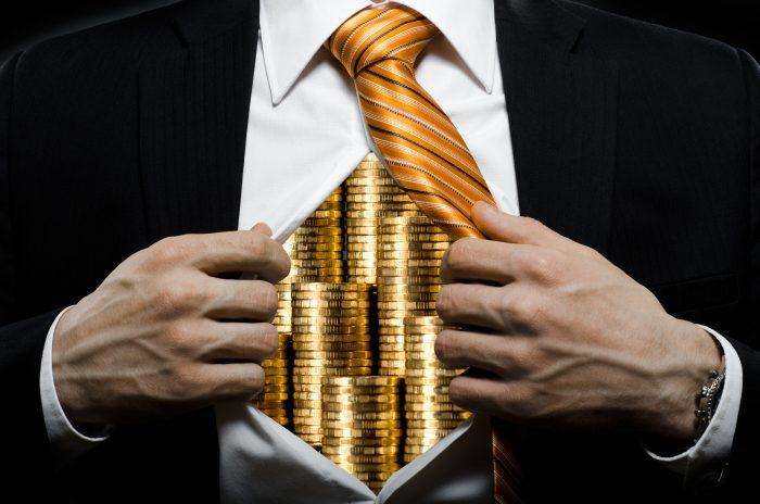 коррупция, деньги в животе, монеты в человеке