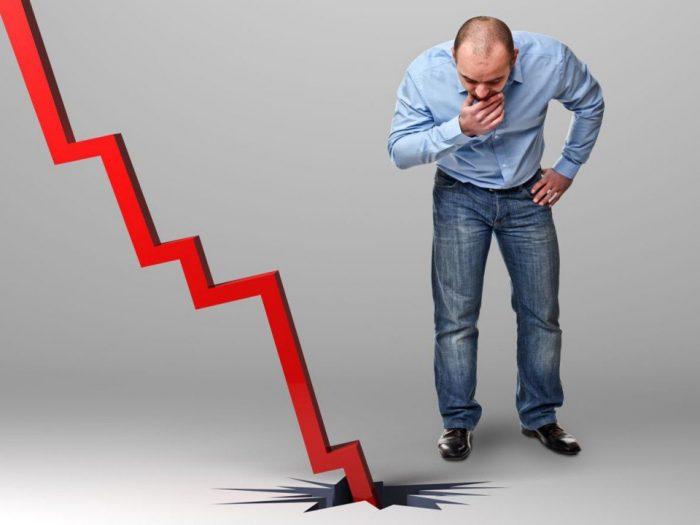спад, кризис, падение, график