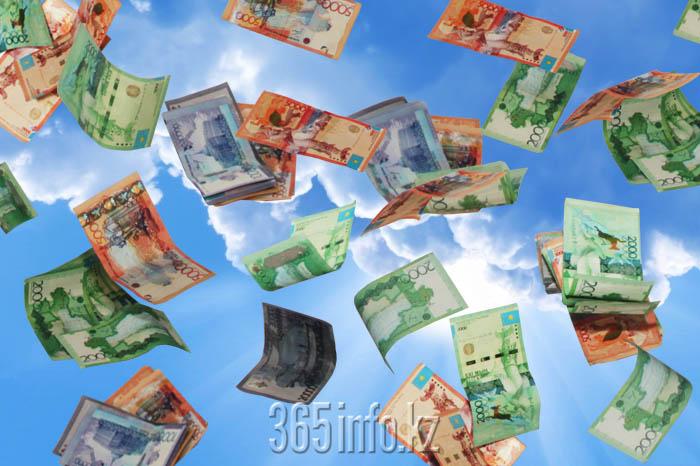 падающие тенге, деньги падают с неба
