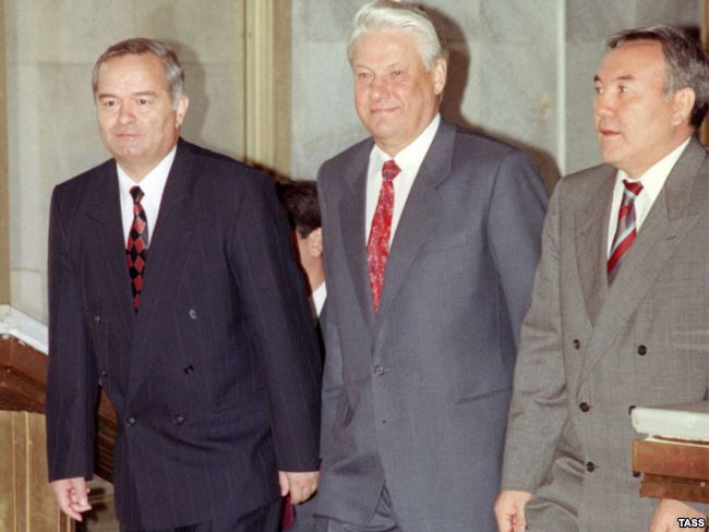 Ислам Каримов, Борис Ельцин и Нурсултан Назарбаев