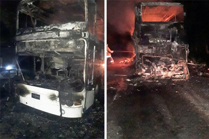 сгорел автобус близ алматы