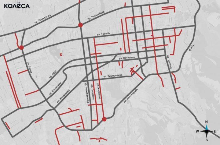 План ремонта дорог Алматы в 2018 году. Источник: Kolesa.kz