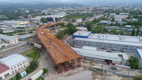 Строящаяся развязка на Сейфуллина-Жансугурова