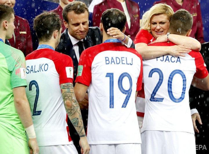 Игроки сборной Хорватии во время церемонии награждения