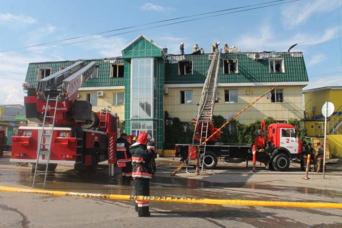 пожар на рынке в Актобе
