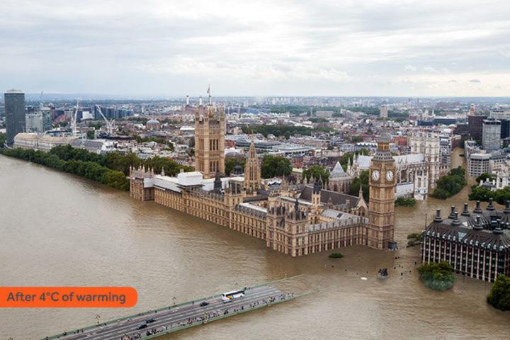 Иллюстрация гипотетического затопления Лондона. Источник: sealevel.climatecentral.org
