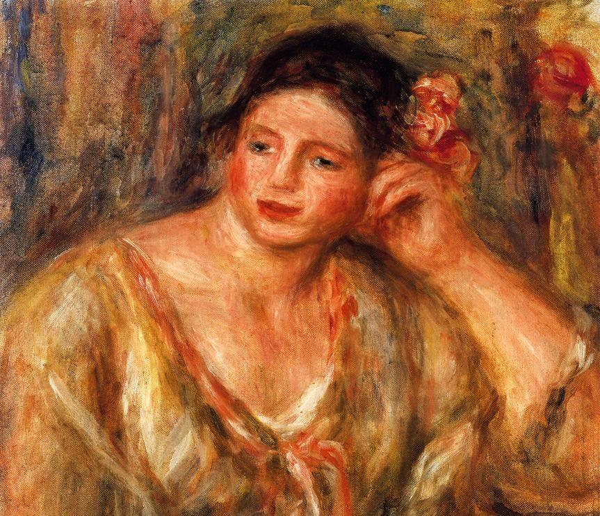 Ренуар, «Мадлен с цветами в волосах, опирающаяся на локоть»