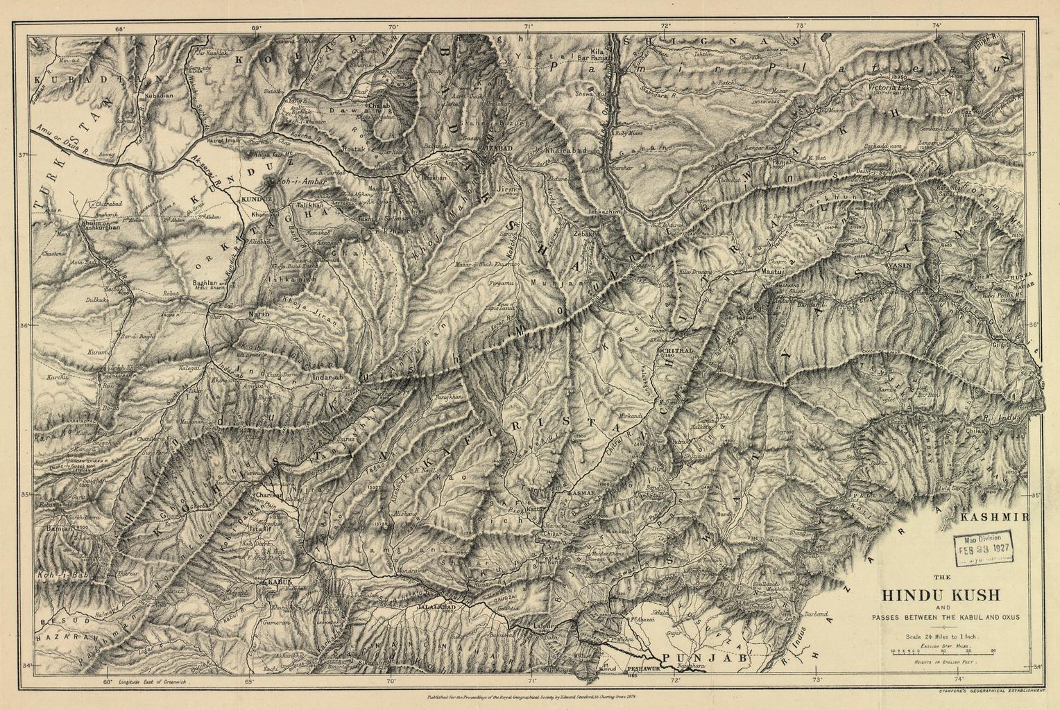карта перевала Гиндукуш