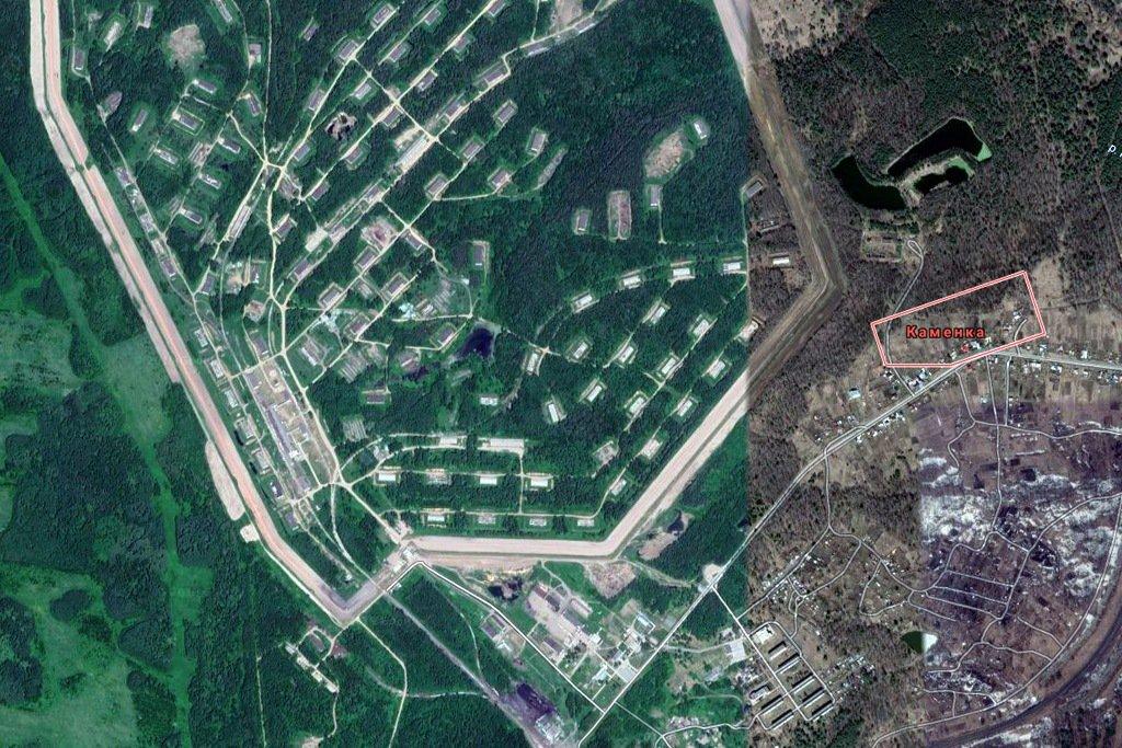 Территория арсенала на спутниковом снимке, Ачинск
